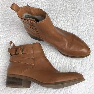 Sole Society Hala brown leather buckled booties
